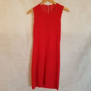 1970s Unlabeled Red See Thru Knit Dress